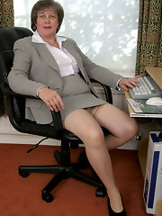 Stockings Mature office women